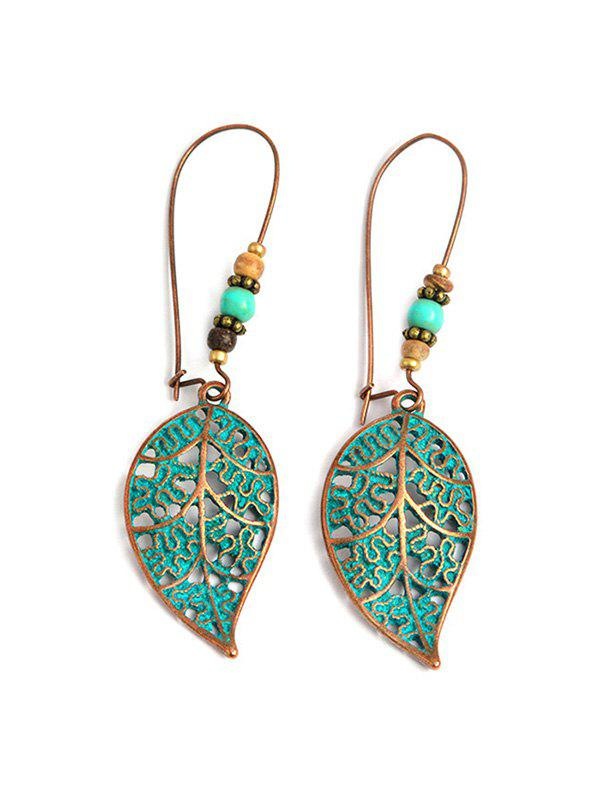 Outfit Retro Hollowed Out Leaf Shape Drop Earrings