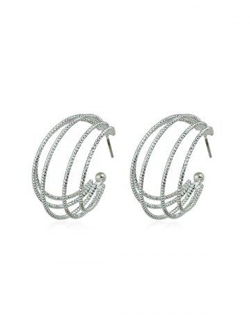 Hollow Carved Circle Stud Earrings