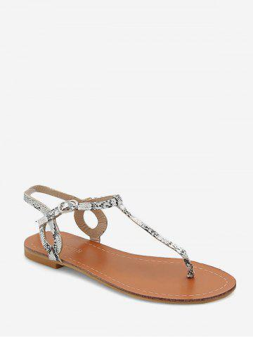 Snakeskin Print T Strap Thong Flat Sandals