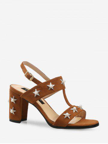 Star Pearl Design High Heel Sandals