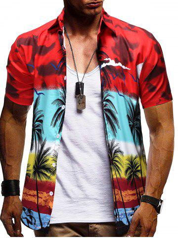 Hawaii Palm Tree Pattern Button Down Shirt