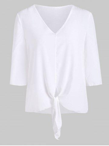 V Neck Front Knotted Casual Blouse