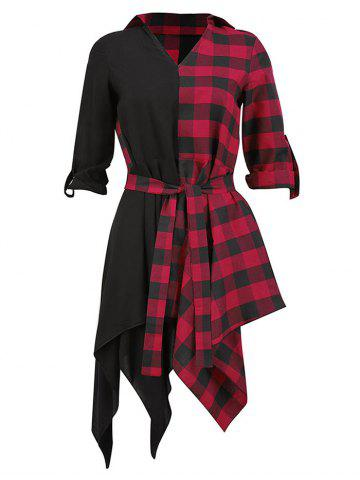 Plaid Rolled Sleeve Asymmetric Belted Dress
