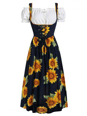 Sunflower Print Midi Dress and Ruffle Bardot Top