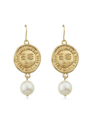 Faux Pearl Round Face Earrings
