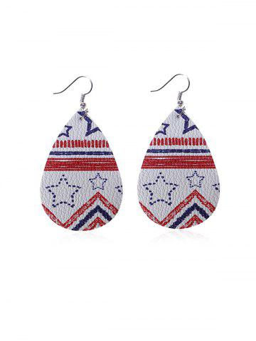 American Flag Pattern Star Water Drop Shape Earrings