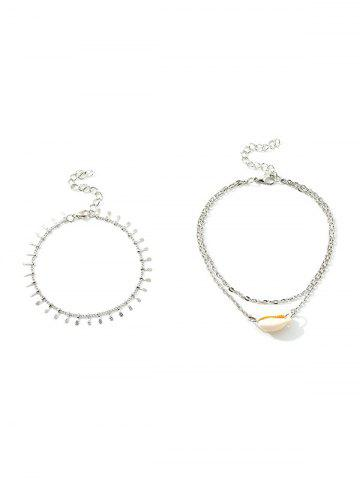 2Pcs Layers Shell Beach Anklet Set