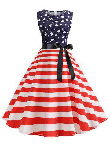 American Flag A Line Belted Retro Dress