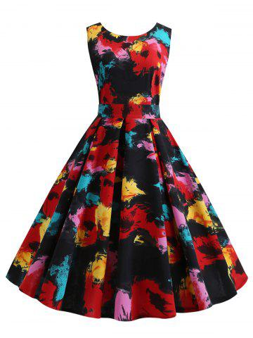 Oil Painting Floral Sleeveless Prom Dress