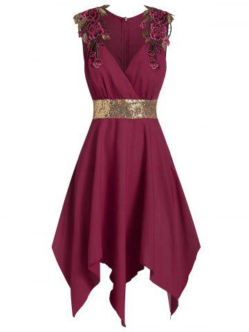 Embroidered Asymmetrical Glitter Dress