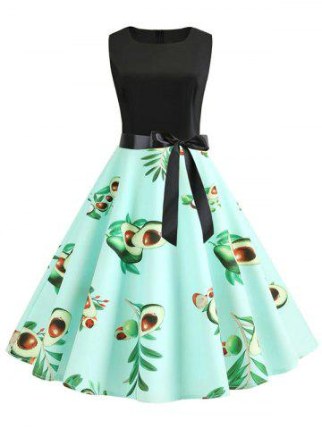 Avocado Print Belted A Line Retro Dress