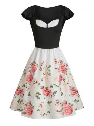 Sweetheart Collar Ditsy Print Fit And Flare Dress
