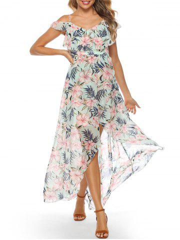 Flower Open Shoulder Cami Maxi Dress