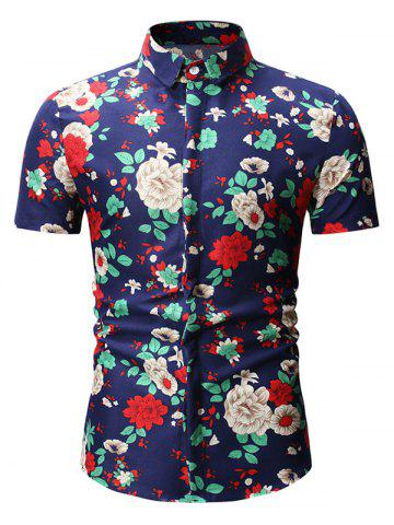 Floral Pattern Decoration Short Sleeves Shirt