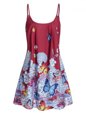 Butterfly Flower Cami Tunic Dress