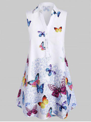 Plus Size Sleeveless Butterfly Print Graphic Blouse - WHITE - 4X