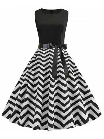 A Line Zigzag Print Vintage Belted Dress