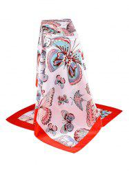 Butterfly Print Satin Silky Square Scarf -