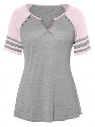 Raglan Sleeve Plus Size V Neck T-shirt -