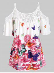 Plus Size Butterfly Print Cold Shoulder Blouse -