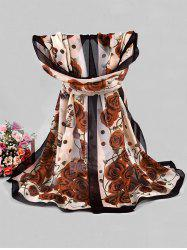 Rose Butterfly Printed Chiffon Long Scarf -