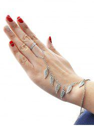 Retro Leaf Chain Bracelet With Ring -