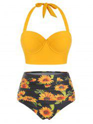 Sunflower Print Underwire Halter Bikini Swimsuit -