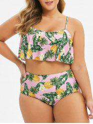 Plus Size Pineapple Leaf Flounce Reversible Bikini Swimsuit -