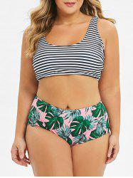 Plus Size Striped Palm Leaf High Waisted Bikini Swimsuit -