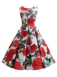 Flower Pattern A Line Belted Vintage Dress -