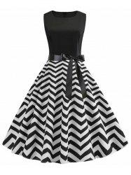 A Line Zigzag Print Vintage Belted Dress -