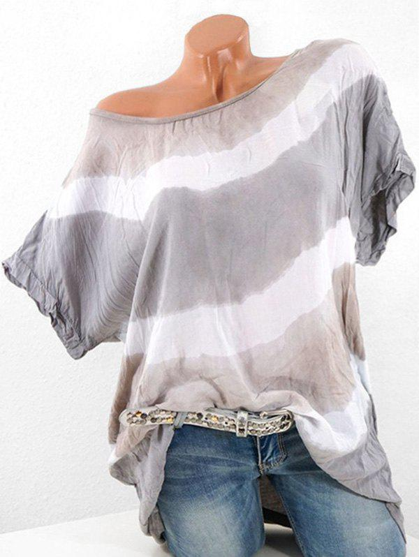 Buy Plus Size Batwing Sleeve Contrast Color T-shirt