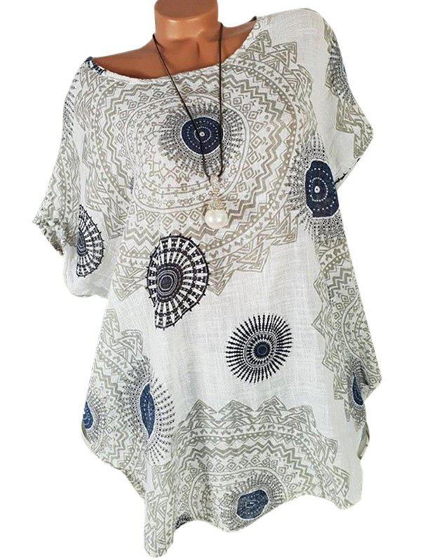 Buy Batwing Printed Curved Plus Size Blouse