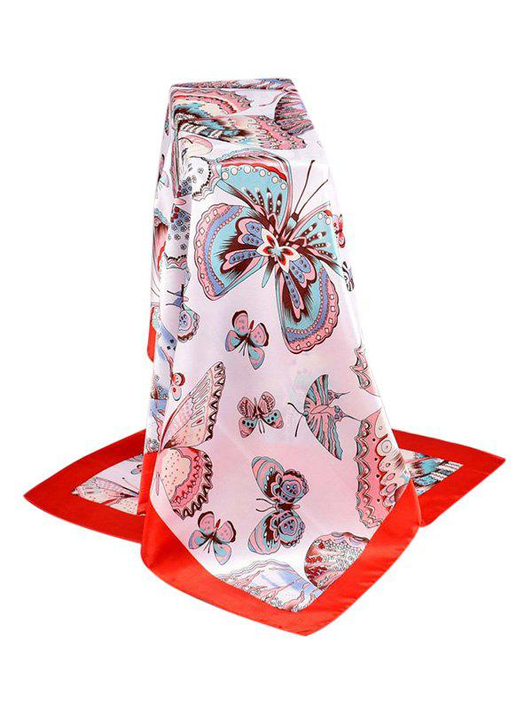 Fancy Butterfly Print Satin Silky Square Scarf