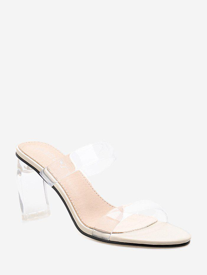 Chic Dual Band Clear High Heel Slides