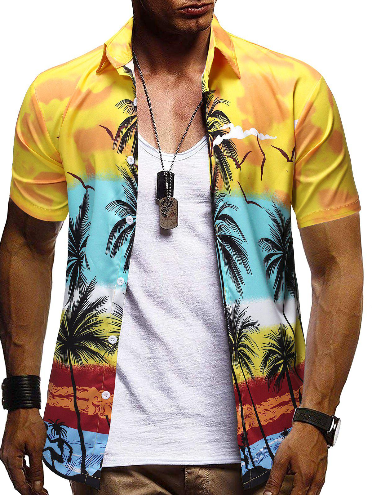 Outfits Hawaii Palm Tree Pattern Button Down Shirt