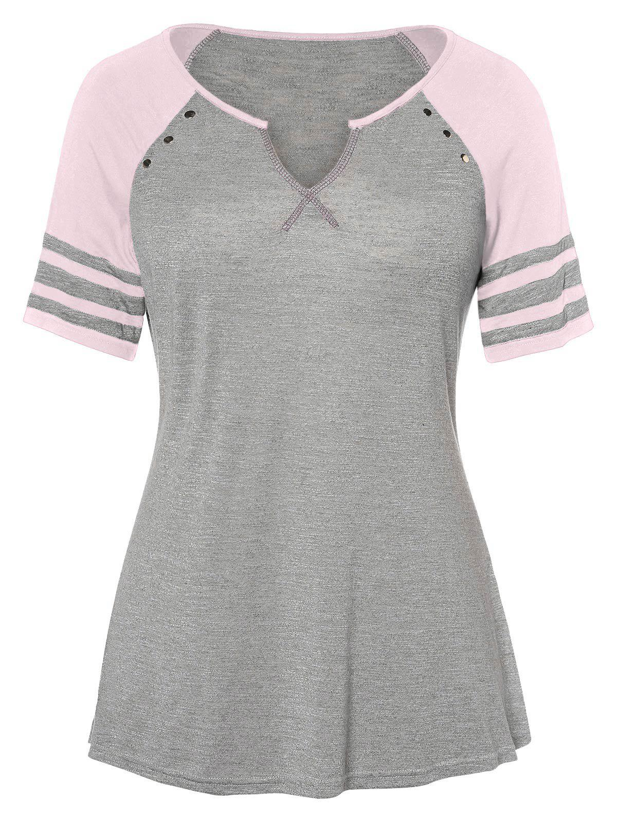 Fancy Raglan Sleeve Plus Size V Neck T-shirt