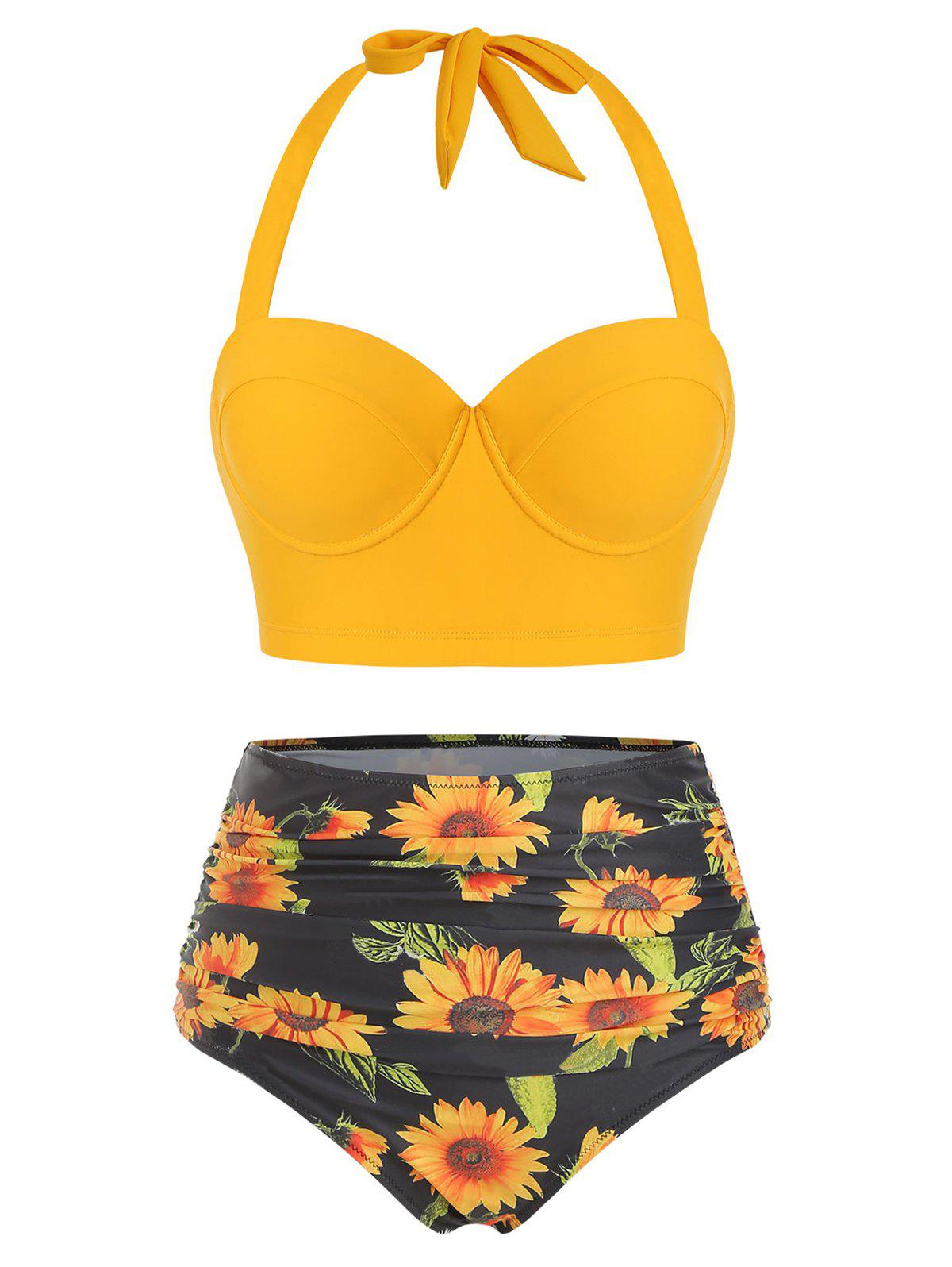 Fancy Sunflower Print Underwire Halter Bikini Swimsuit