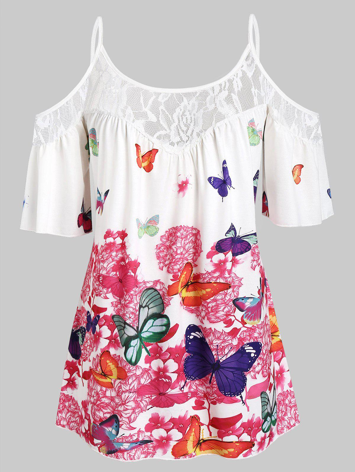 Hot Plus Size Butterfly Print Cold Shoulder Blouse