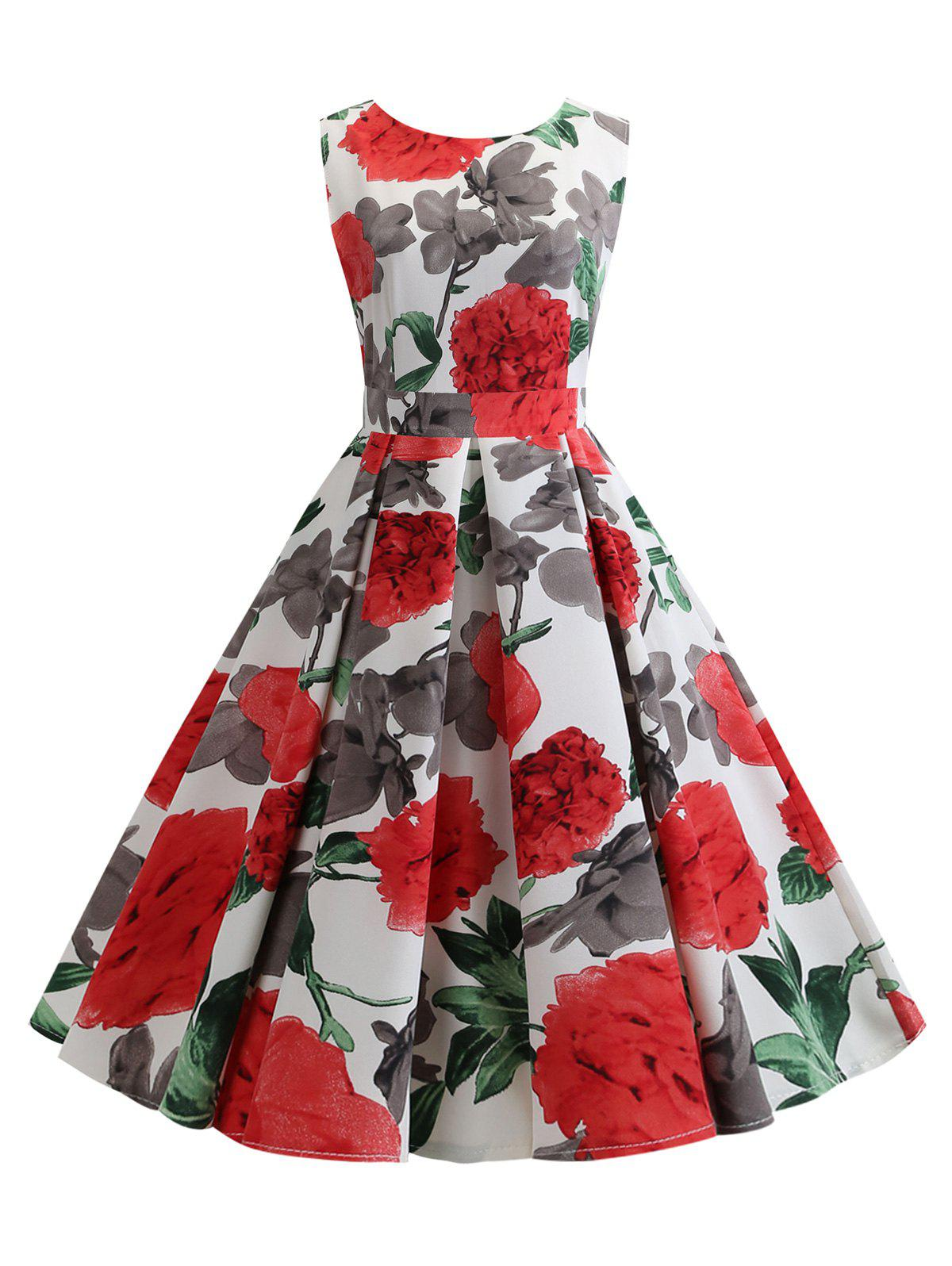 New Flower Pattern A Line Belted Vintage Dress