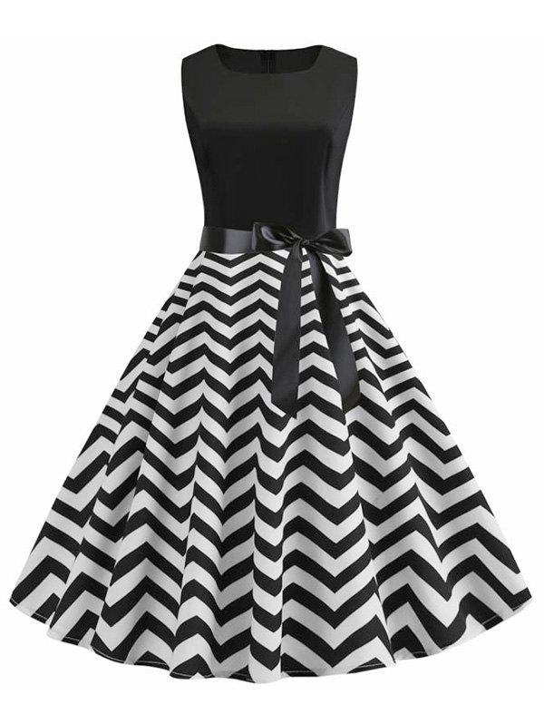 Affordable A Line Zigzag Print Vintage Belted Dress