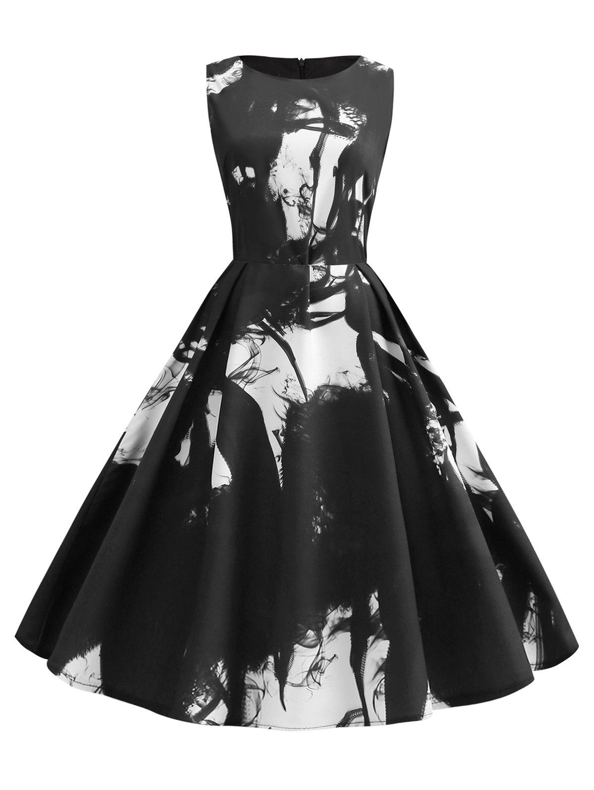 Hot Abstract Print Sleeveless Prom Dress