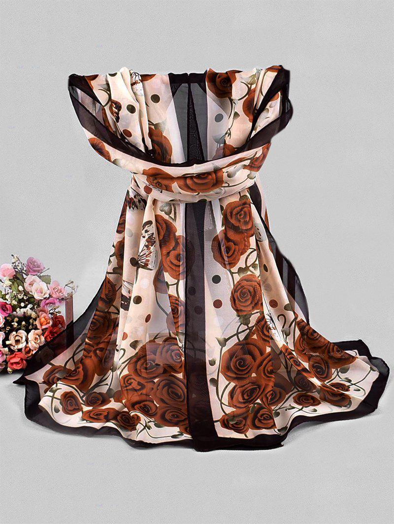 Affordable Rose Butterfly Printed Chiffon Long Scarf