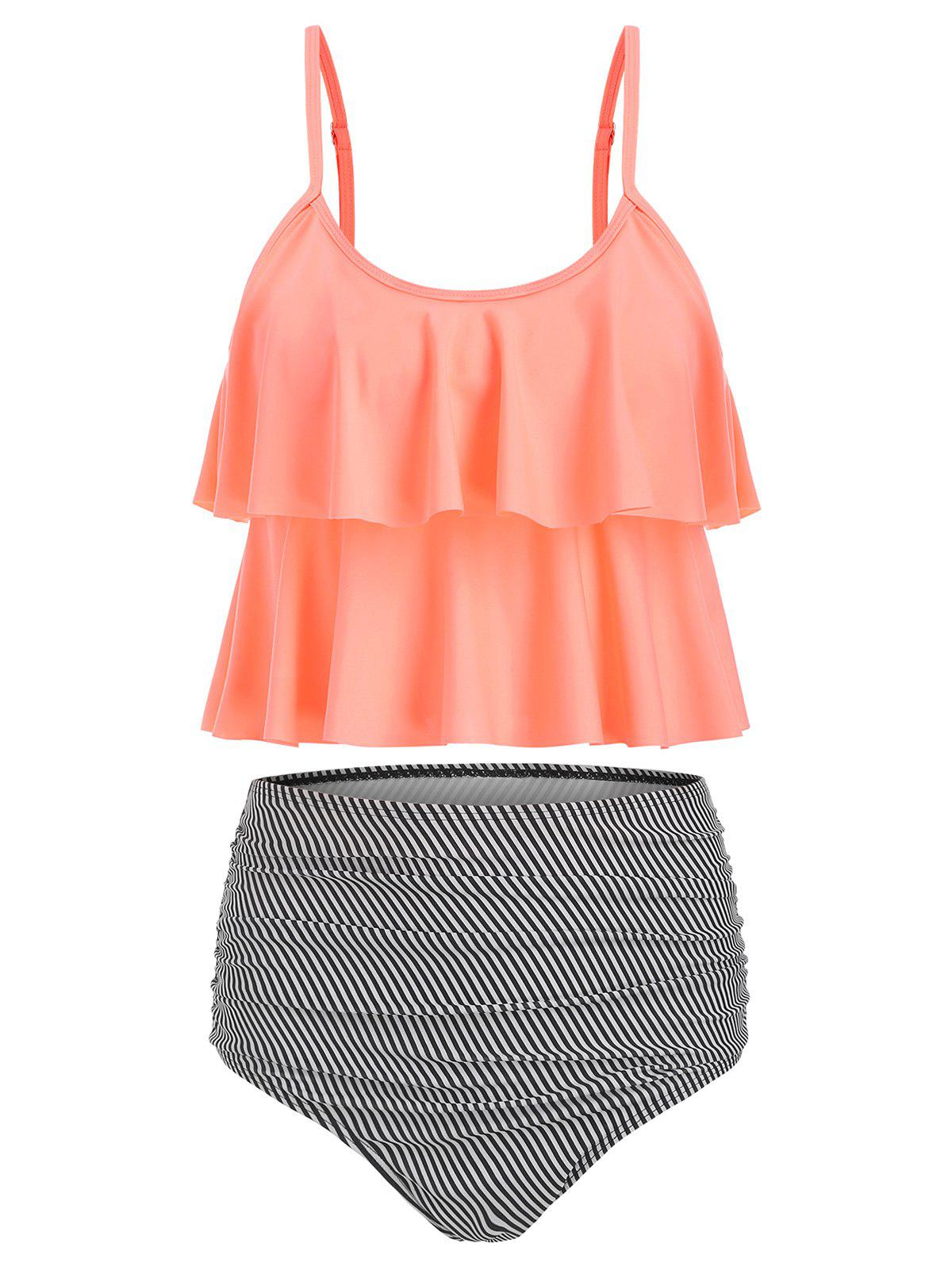 Outfit Striped Padded Overlay Tankini Set