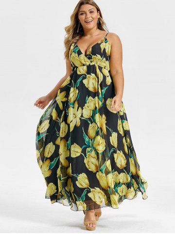 Plus Size Spaghetti Strap Floral Maxi Dress