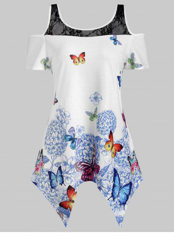 Lace Panel Cold Shoulder Butterfly Print Asymmetric Blouse