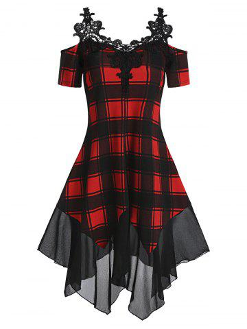 Open Shoulder Checked Asymmetric Dress