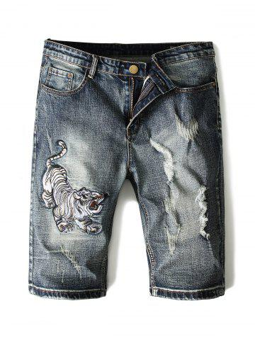 Tiger Embroidery Casual Jeans Shorts