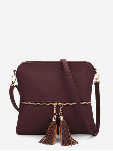 Tassels Zipper Square Shoulder Bag