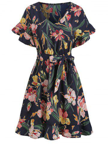 Floral Bell Sleeve Ruffle Dress